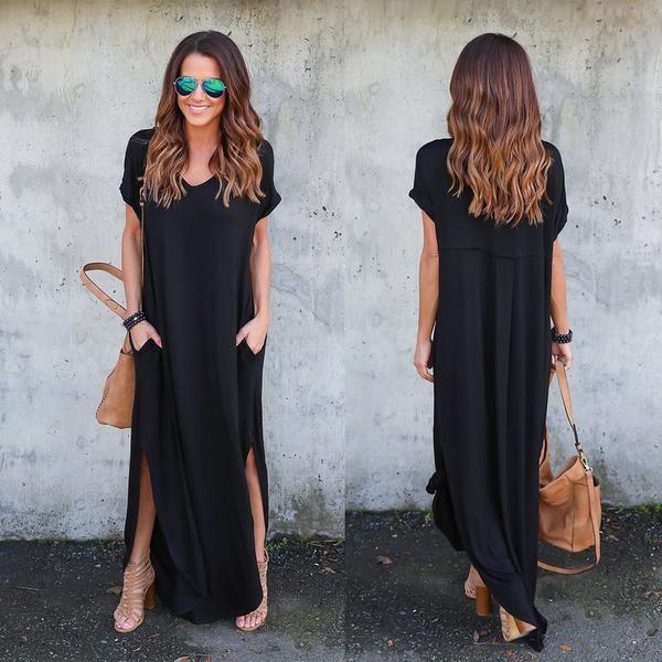Stylish T-shirt Maxi Dress with Front Slits in 2021 | Stylish ...