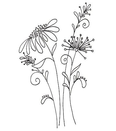 Whimsical flower pattern from a Penny Black stamp - Idea - get pattern similar to this and use a light box to draw onto card with sharpie.  Then leave as is or color in.
