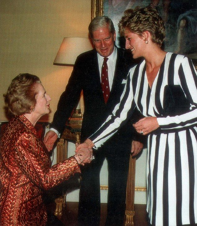 Gordon Reece, , one of Margaret Thatcher's closest advisers, was completely infatuated with Diana, Princess of Wales. Tim Bell thought that was a complete bimbo. Here Mrs Thatcher pays obeisance watched by James Billington, the Librarian of Congress in Washington DC