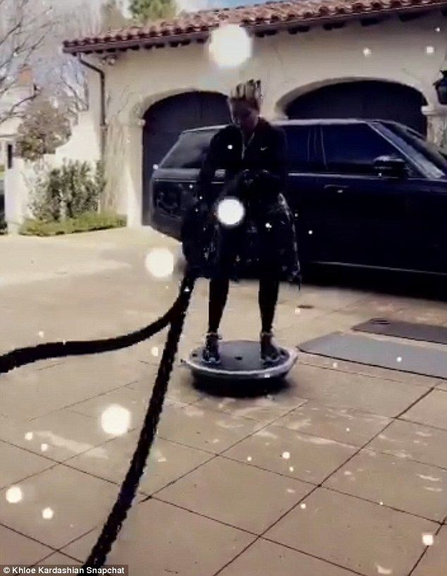 Not giving up! In another snap, the ex-wife of Lamar Odom dragged a heavy item up a driveway and balanced on a balance ball while swinging ropes