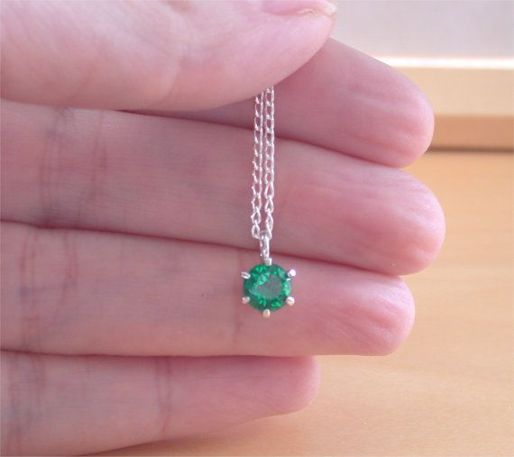 925 Emerald Lab Created Solitaire Pendant by joannasjewellerycouk