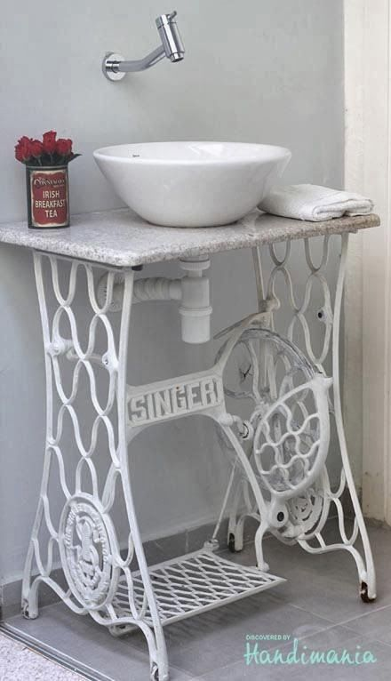 DIY BOWL SINK - Google Search (I loovvveee the idea of using an old Singer stand!!!)