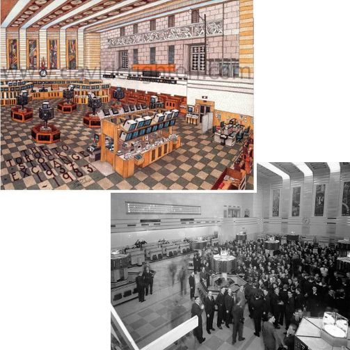 TBT to Toronto Stock Exchange trading floor 1937-1939. The floor officially closed in 1997, with the shift to a floorless, electronic (or virtual trading) environment.