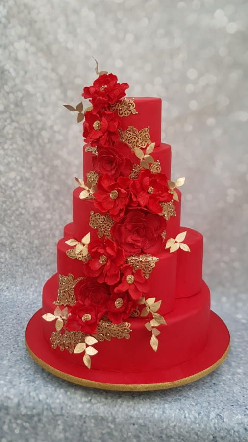 Red wedding cake by azhaar - http://cakesdecor.com/cakes/237426-red-wedding-cake