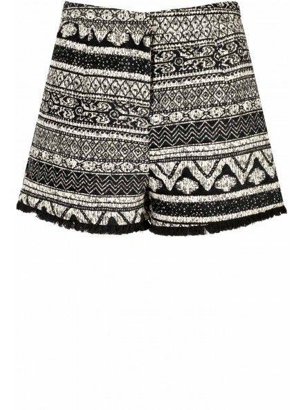 Glamorous - Black And White Tapestry Print Shorts