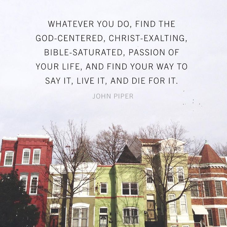 """Whatever you do, find the God-centered, Christ-exalting, Bible-saturated, passion of your life, and find your way to say it, live it, and die for it."" ~John Piper"