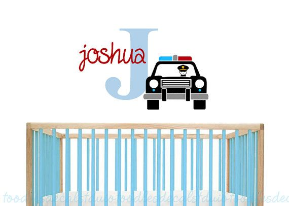 Police Car Wall Decal Nursery Policeman By ToodlesDecalStudio Part 95