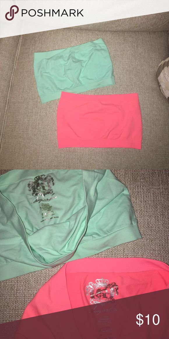 Sugar Lips bandeau tops These bandeau tops go under any shirt! One is orange and one is a light blue green color! They can both be sold together! Sugar lips Intimates & Sleepwear Bandeaus