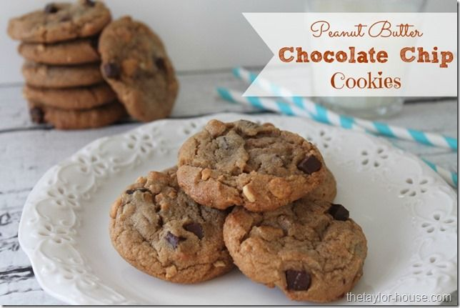 Soft Chewy Peanut Butter Cookies with Chocolate Chunks