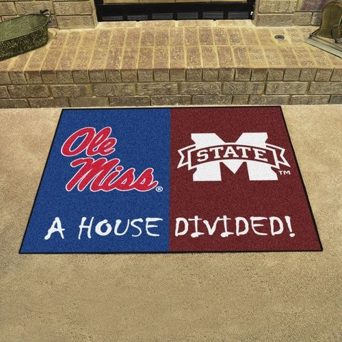 "Ole Miss Rebels - Mississippi State Bulldogs House Divided All Star Area Rug Floor Mat 34"""" x 45"""""