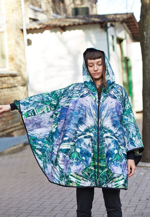 Waterproof Printed Poncho by Lampades on Etsy