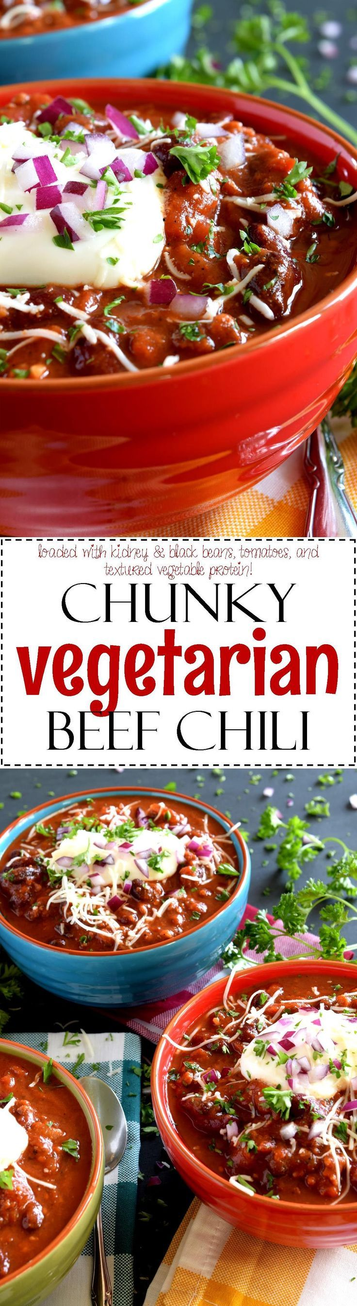 Chunky Vegetarian Beef Chili - Chunky Vegetarian Beef Chili is the ultimate in vegetarian chili options.  Loaded with kidney and black beans, big pieces of tomato, and textured vegetable protein, this dish will fool even the most die-hard ground beef lover!