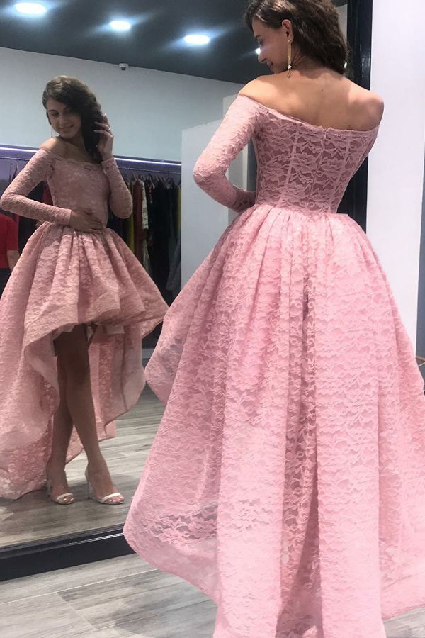 1d6629e2eb2 A-Line Off-the-Shoulder High Low Asymmetrical Pink Long Sleeves Lace ...