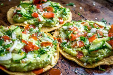 Avocado Hummus and Cucumber Pico de Gallo Tostadas