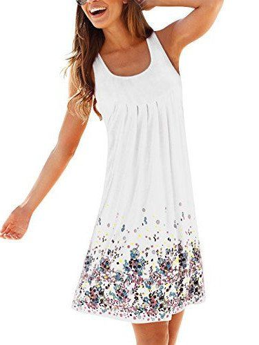 Women Summer Casual Evening Party Printing Beach Dress Short Purple Mini Dress S-5XL