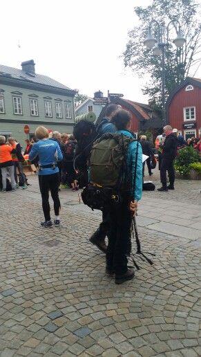 Start för Nya Roslagsmarschen 2015 på Lilla Torget i Norrtälje.