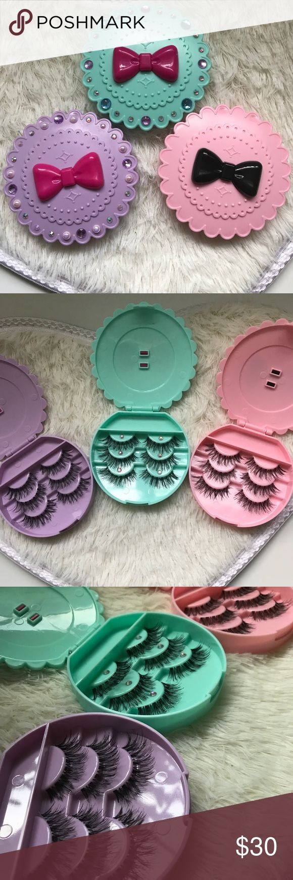 9 WSP Lashes + 3 Eyelash cases All brand new include  ✅ 3 Eyelash Cases ( you can choose color )   For example, 2 pink 1 mint color  If you don't message me you will get mint, pink and lavender❣️ ✅ 9 wispy Eyelashes   Great for a GIFT❤️✨ Each eyelash set wrapped separately with TLC❣️    # tags Iconic, mink, red cherry eyelashes, house of lashes, doll, kawaii, case, full, natural,  Koko, Ardell, wispies, Demi , makeup, mascara, eyelash applicator, Mykonos Mink , Lashes , wispy ,eyelash case…