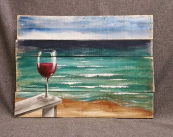Pallet wood beach Red Wine painting, pallet ocean wall art, Beach Chair, upcycled, Handmade Seascape horizon, ocean, Distressed, shabby