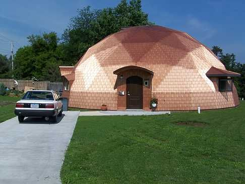 Superinsulated Geodesic Dome - Copper Reinke Aluminum Shakes