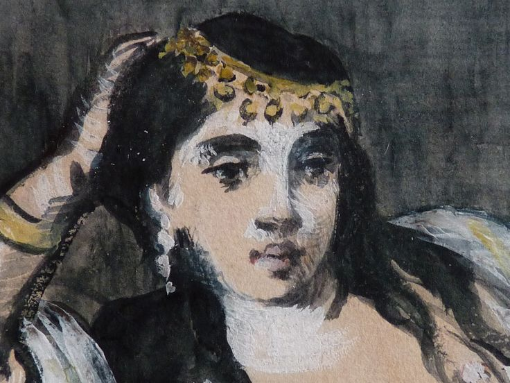 MANET Edouard - Odalisque (drawing, dessin, disegno-Louvre RF6929) - Detail 06