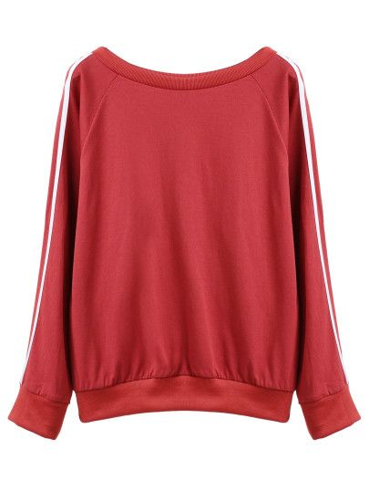 Sweat-shirt manche raglan à rayure - rouge rouille