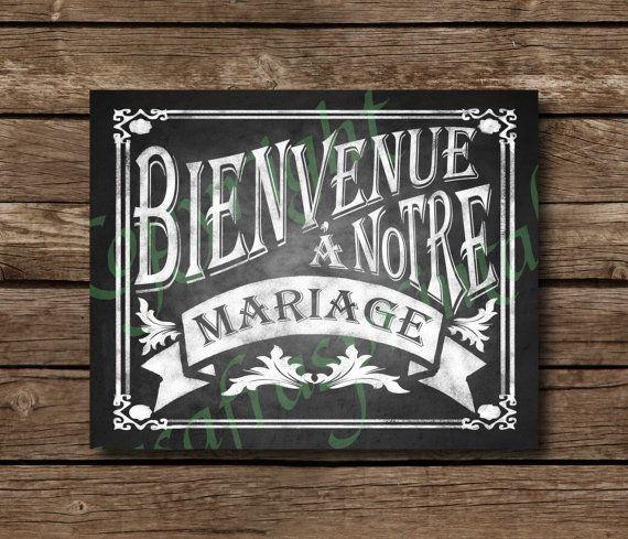 Bienvenue à notre mariage Chalkboard Wedding Sign - DIY Download and Print - Printable File