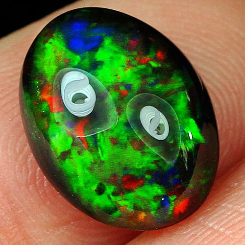 2.8CT Natural Ethiopian Black Opal Cab Play Of Color SHP5493