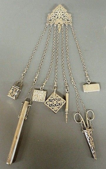 English silver chatelaine with scissors, thimble, pen, etc.