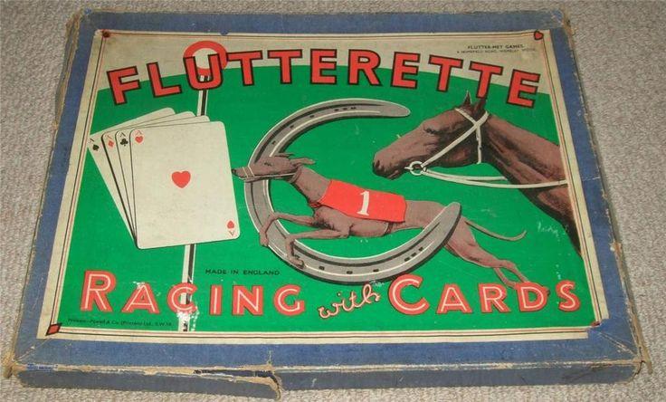 FLUTTERETTE - VINTAGE 1920's RACING BOARD GAME WITH CARDS