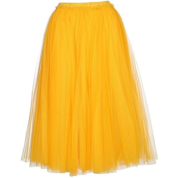 nº21 Tutu Style Full Skirt (€557) ❤ liked on Polyvore featuring skirts, bottoms, yellow, full skirts, yellow skirt, elastic waistband skirt, yellow tutu and elastic waist skirt