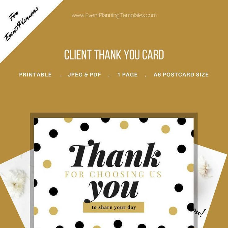 Excited to share the latest addition to my #etsy shop: Thank You Card for Clients for Event and Wedding Planners. Printable Template. JPEG and PDF Versions included. http://etsy.me/2nSmeXp #everythingelse #graphicdesign #gold #black #eventplanner #eventplanning #weddin