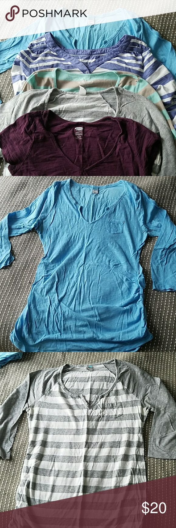 Maternity Top Bundle Blue solid long sleeve - Old Navy Maternity M  White and Grey striped 3/4 sleeve - Old Navy Maternity M  mint and tan long sleeve - Old Navy Maternity M  Purple and White Roll Up Sleeve - Liz Lange Maternity S  Purple T - Old Navy Maternity XS  Even though the sizes range...I usually wear an XS/S and fit into all of these during the stages of my pregnancy.   Happy to sell you just one, if you're interested. Old Navy Tops