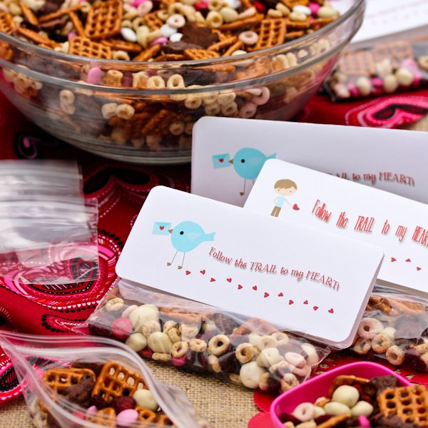 Recipe: Homemade Trail Mix ~ Valentine Snack  Ingredients        4 cups miniature pretzels      4 cups Strawberry Yogurt Cherrios (or favorite cereal)      3 cups (1 box) Chocolate Teddy Grahams      2 cups dried cherries or cranberries      2 cups yogurt covered raisins      2 cups Valentine M&Ms