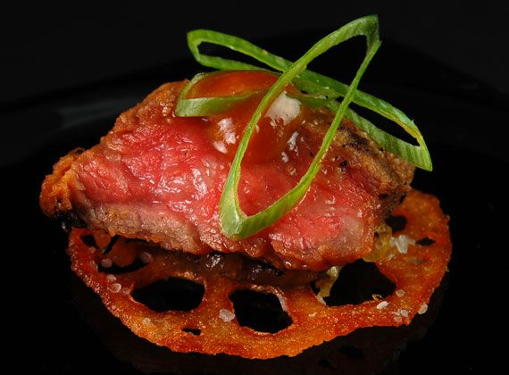 Beef Tataki, Lotus Crisp, Scallion Marmalade, Su-miso | @Omecaterer #njcatering #nycatering #caterersnj | Ome Caterers Catering NJ NY CT | Wedding Reception Ideas Decorations, Bat Mitzvahs, Charity Golf Outing, Fundraising, Corporate, Event Planner