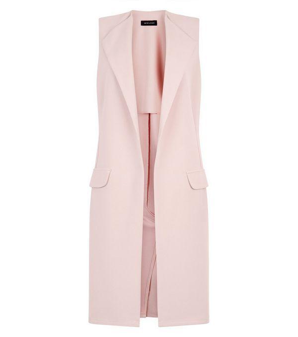 veste rose poudre sans manches deux poches new look