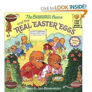 The Berenstain Bears and the Real Easter Eggs.  Doesn't tell the story of Easter but conveys that candy and eggs are not what it's about.
