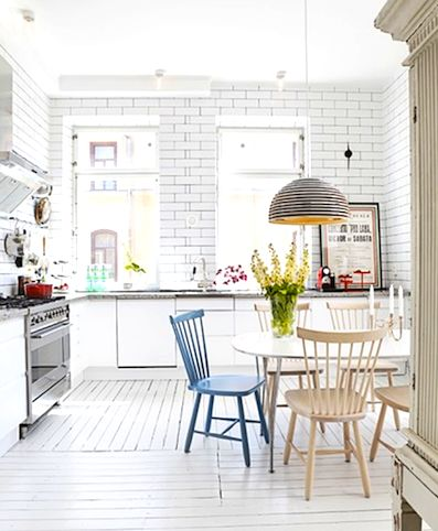 Swedish kitchen, kitchen chairs, city apartment kitchen, old meets new kitchen
