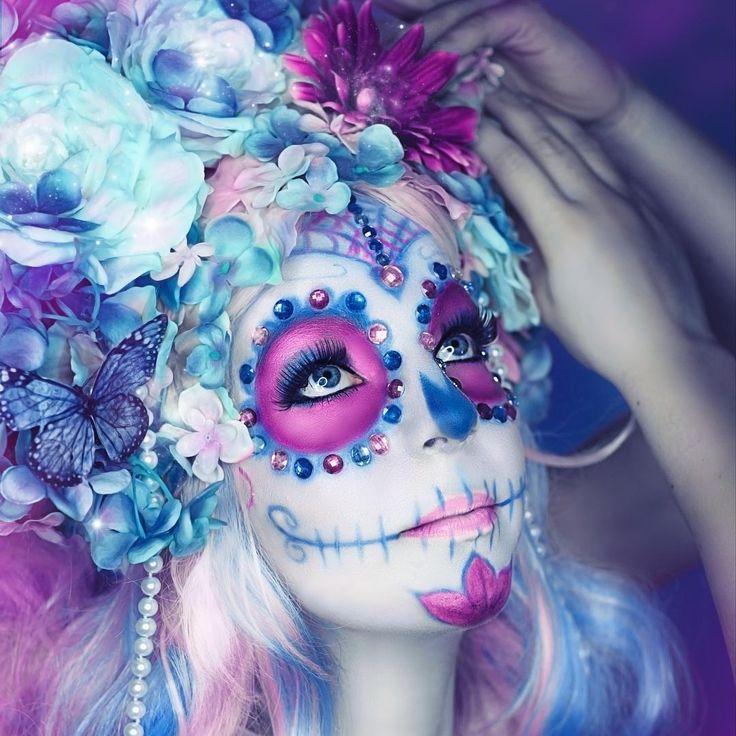 Make Up & Foto: Rekii - Make Up & Fotos www.facebook.com/rekii.fotografie www.rekii-fotografie.de #rekii #fotografie #photography #makeup #fantasy #october #autumn #fall #headdress  #mua #sugarskull #diasdelosmuertos #lacatrina #candy #flowers #pink #blue #shooting #photoshooting