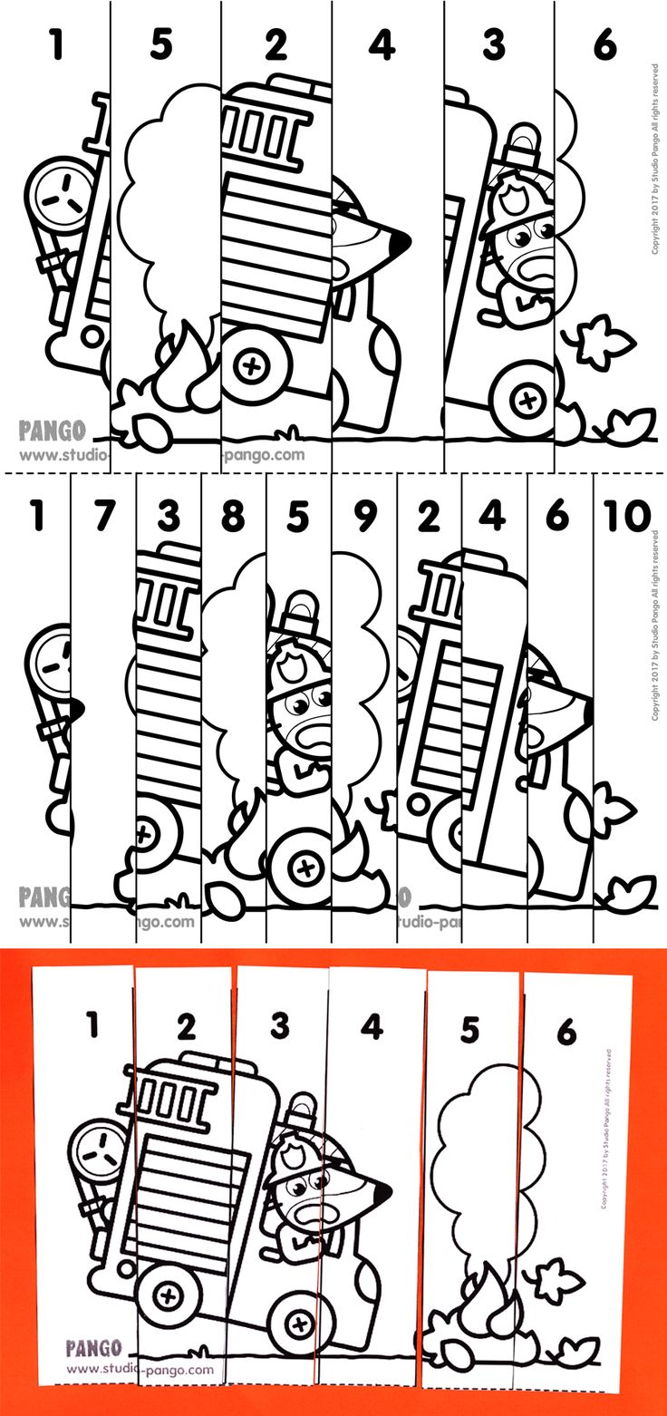 Fire truck numerical puzzle #count to #6 #10 #puzzle #numérique