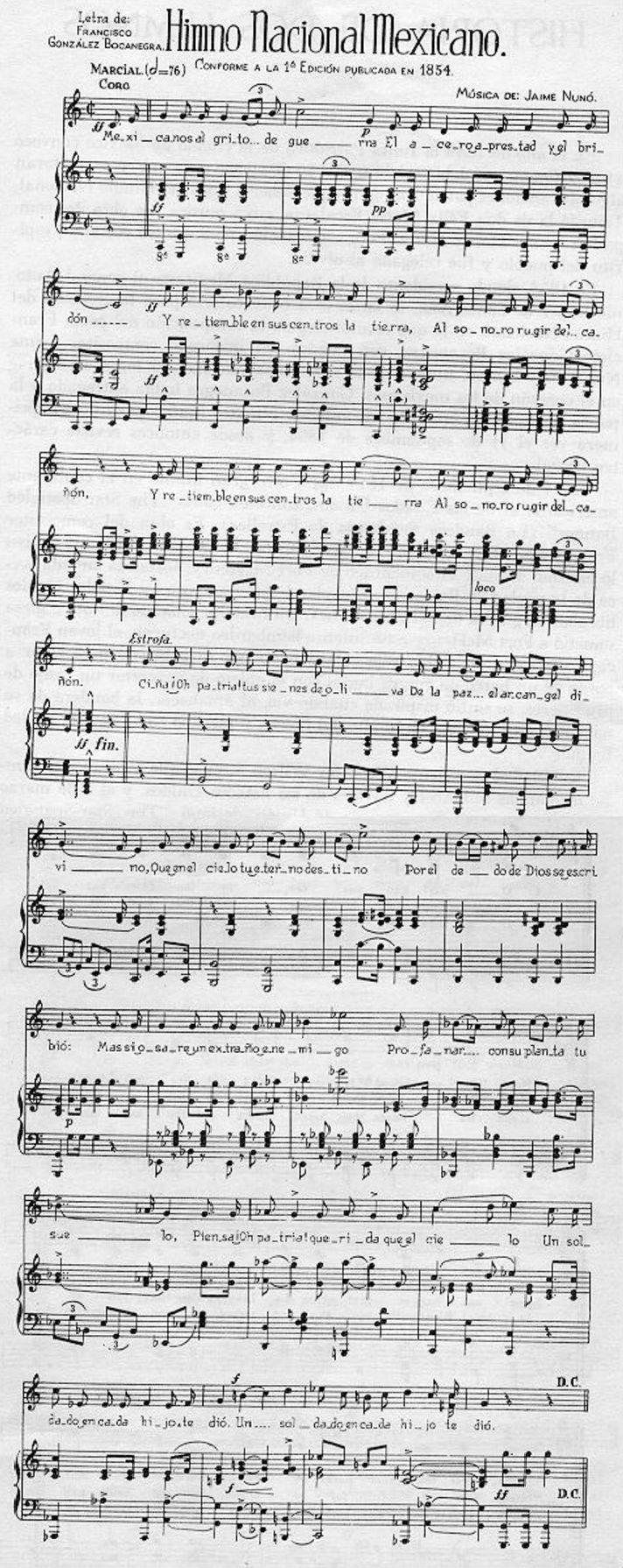 Partitura del Himno Nacional Méxicano / Sheet music of the Mexican National Anthem