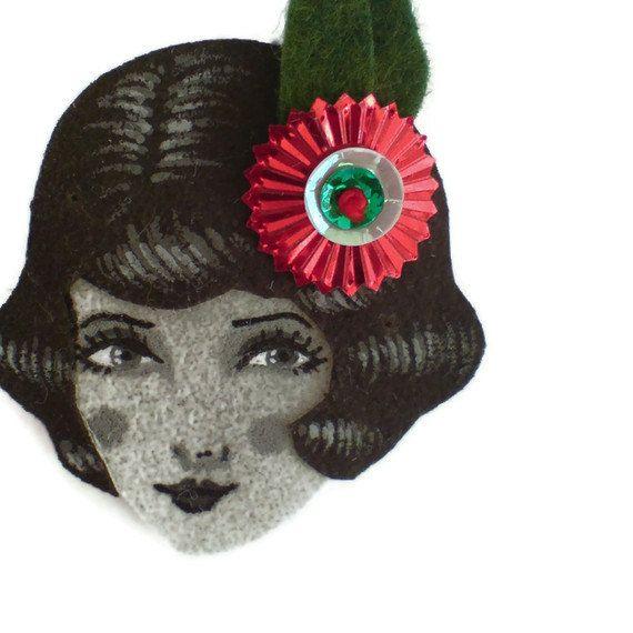 Jazz Age girl brooch  Roxie monochrome red moss green by yalipaz.
