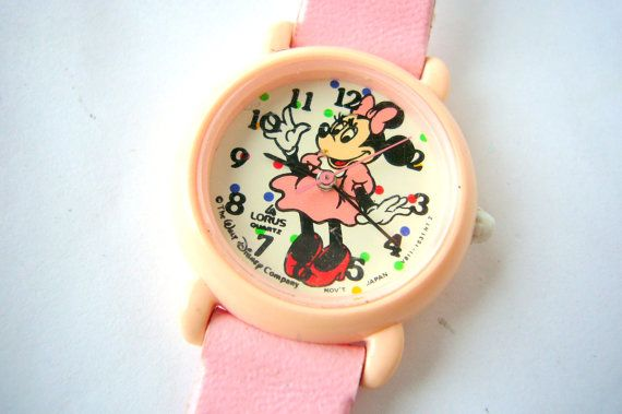 Pink Minnie Mouse Watch by Lorus 1980's Walt Disney by Watchchas