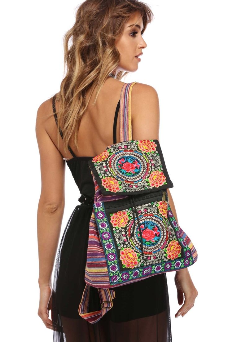 Multi Embroidered Festival Backpack