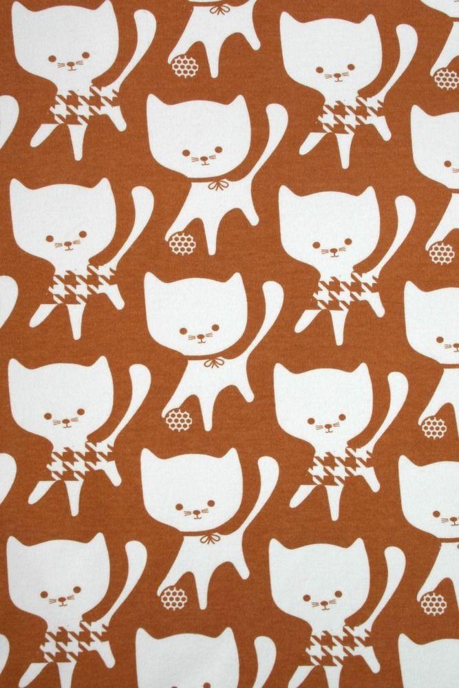 Image of Caramel Cats organic interlock (by the half metre)This fabric has been made available through NOSH organics / PaaPii Design.