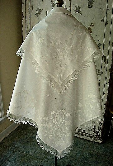 1800s-30s whitework wedding shawl with paisley pattens.