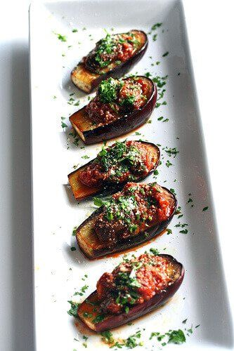 Roasted Baby Eggplant with Caponata Sauce ~ http://steamykitchen.com