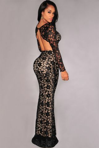 Sexy Black Lace Crop Top And Mermaid Skirt Set R699.00
