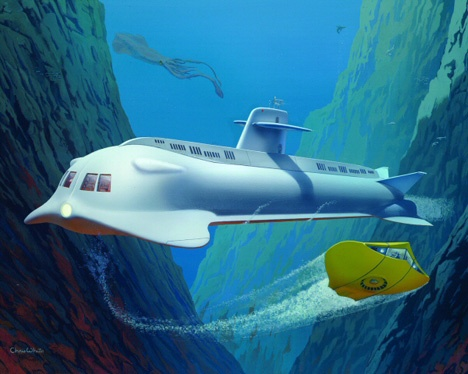 Voyage To The Bottom Of The Sea. Seaview and Flying Sub artwork for Moebius Models box cover.