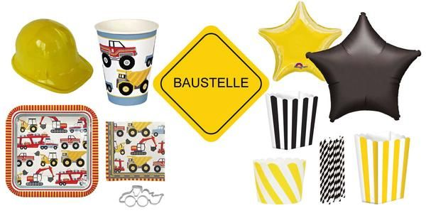 Partyzubehör Baustellen Party, Kindergeburtstag Baustelle: Tischdekoration, Luftballons, Pappteller, Pappbecher, Servietten, Bauarbeiterhelm.