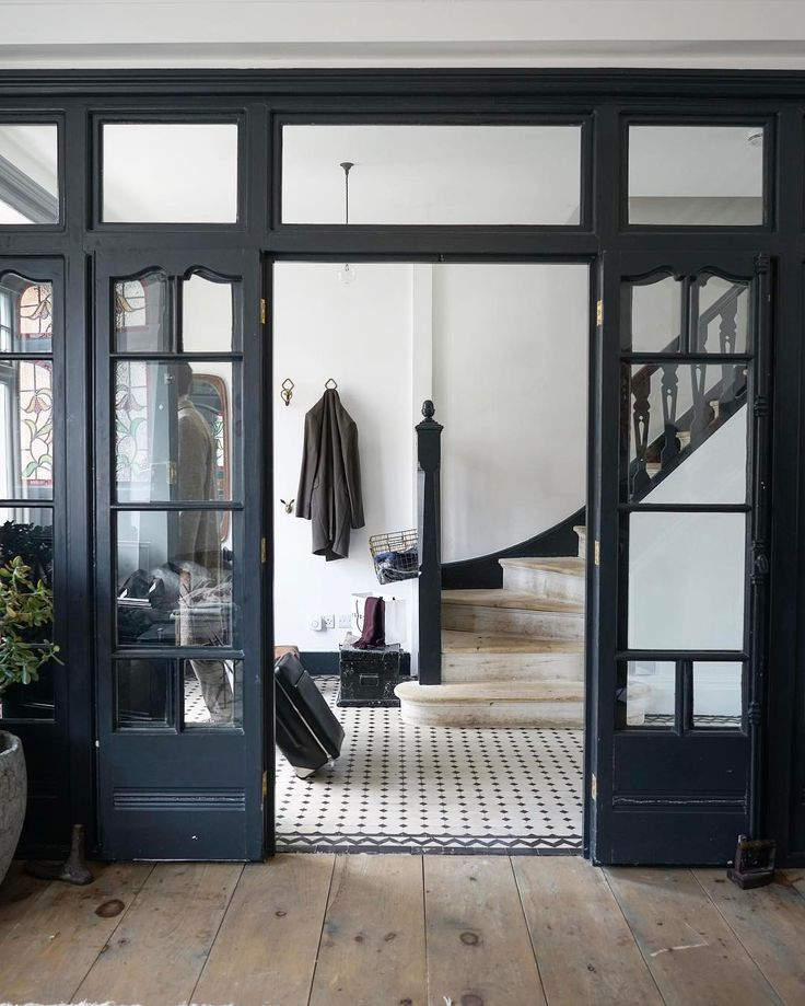 glass french doors in entryway